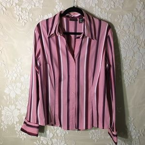 New York & Company Striped Long Sleeve Blouse